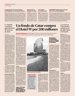 Un fondo de Catar compra el Hotel W por 200 millones