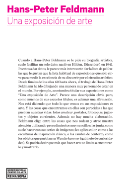 "Folleto de Hans-Peter Feldmann. ""Una exposición de Arte"""