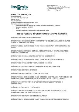 Folleto de Tarifas Máximas aplicables por Banco Inversis y Normas