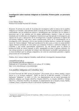 Investigación sobre músicas indígenas en Colombia. Primera parte