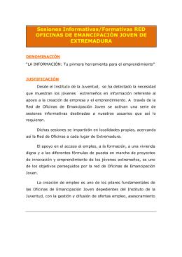 Sesiones Informativas/Formativas RED OFICINAS DE