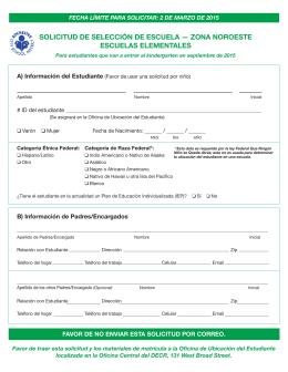 SOLICITUD DE SELECCIÓN DE ESCUELA — ZONA NOROESTE