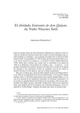 El olvidado Entremés de don Quijote, de Nuño Nisceno Sutil