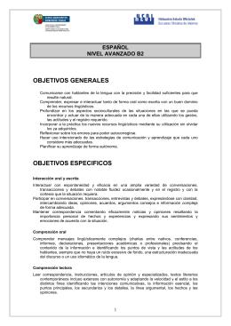 Español - Nivel Avanzado (B2)
