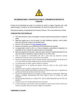 recomendaciones y advertencias para el consumidor en materia de