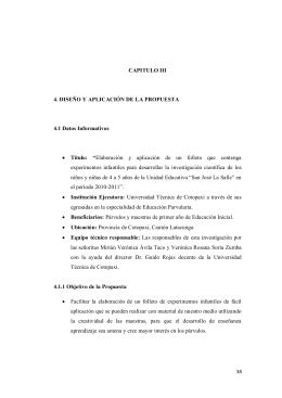 CAPITULO III 4. DISEÑO Y APLICACIÓN DE LA PROPUESTA 4.1