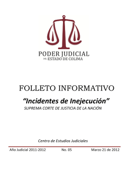 "FOLLETO INFORMATIVO ""Incidentes de Inejecución"""