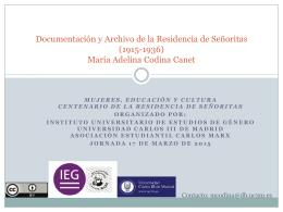 Documentación y Archivo de la Residencia de Señoritas (1915