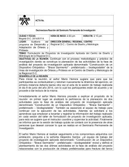Adaptación de Órtesis y Prótesis OBJETIVO(S) DE LA REUNIÓN
