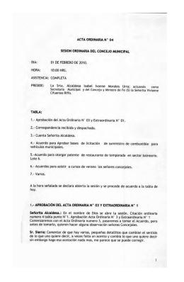 sesion ordinaria del concejo municipal