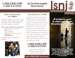 PREP Brochure - Spanish - Legal Services of New Jersey