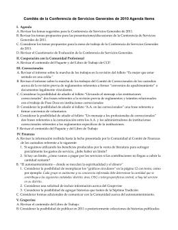 Comités de la Conferencia de Servicios Generales de 2010 Agenda