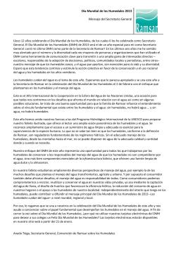 Día Mundial de los Humedales 2013 Mensaje del Secretario General