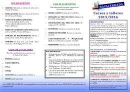 NAVACERRADA Cursos y talleres 2015/2016