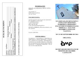 Ficha de inscripción y Folleto XV Jornadas Misioneras