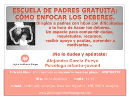 folleto escuela padres deberes - Psicología Infantil en Zaragoza