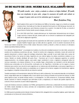 30 DE MAYO DE 1959. MUERE RAUL SCALABRINI ORTIZ Raul