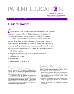 Patient Education Pamphlet, SP096, El cáncer ovárico