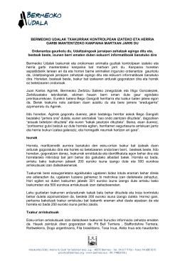 BERMEOKO UDALAK TXAKURRAK KONTROLPEAN IZATEKO ETA