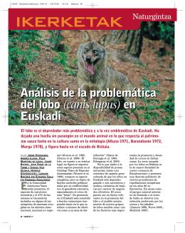 Análisis de la problemática del lobo (canis lupus) en Euskadi