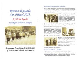 Folleto y programa de Retorno al pasado. San Miguel 2013