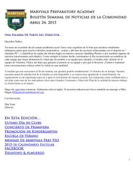 Maryvale Preparatory Academy Boletín Semanal de Noticias de la