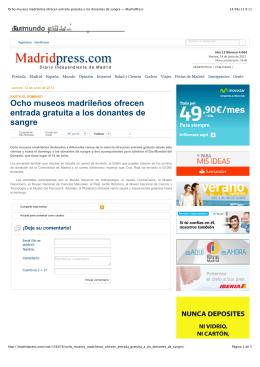 Ocho museos madrileños ofrecen entrada gratuita a los donantes
