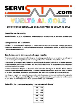 CONDICIONES GENERALES DE LA CAMPAÑA DE VUELTA AL
