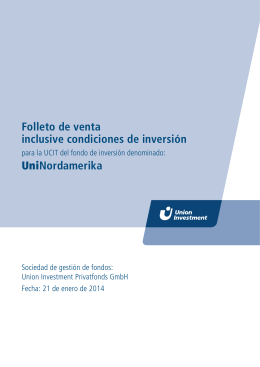 Folleto de venta inclusive condiciones de