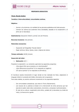 PROPUESTA EDUCATIVA Título: Mundo Andino
