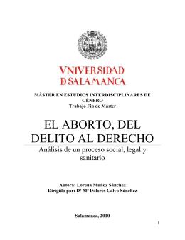 EL ABORTO, DEL DELITO AL DERECHO