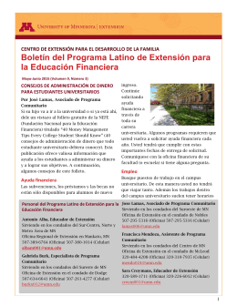 Boletín Latino de Mayo-Junio - University of Minnesota Extension