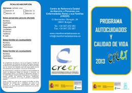 PROGRAMA AUTOCUIDADOS Y CALIDAD DE VIDA 2013