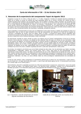 Carta de información n°20 – 15 de Octubre 2012 1
