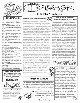 Holt PTA Newsletter Holtpta.org
