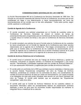 Español/Espagnol/Spanish Mayo 2011 CONSIDERACIONES