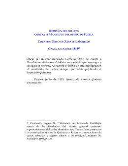 Remisión del folleto contra el Manifiesto del obispo de Puebla