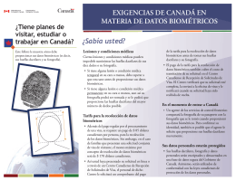 ¿Sabía usted? EXIGENCIAS DE CANADÁ EN MATERIA DE DATOS