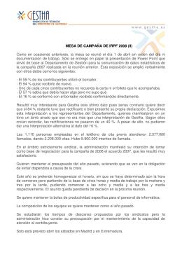 MESA DE CAMPAÑA DE IRPF 2008 (II) Como en