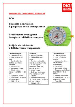 SCO Boussole d`initiation à plaquette verte transparente Translucent