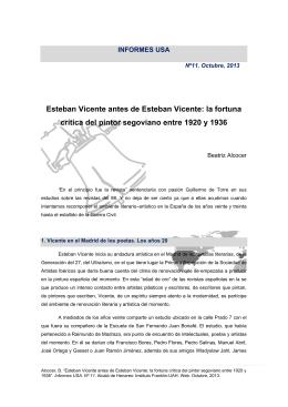 Esteban Vicente antes de Esteban Vicente: la