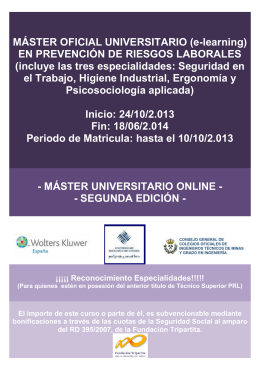 folleto MÁSTER OFICIAL UNIVERSITARIO 2013-1014