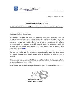 CIRCULAR ADM.CH.N-N°3/2015 REF: Información sobre Folleto