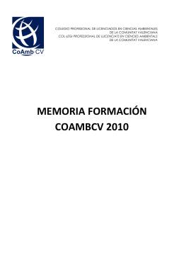 MEMORIA FORMACIÓN COAMBCV 2010
