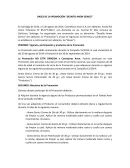 """BASES DE LA PROMOCIÓN """"DESAFÍO ANEW GENICS"""" En"""