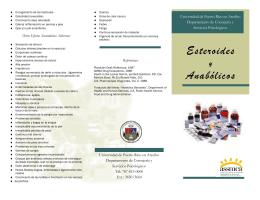 Esteroides y Anabólicos - Universidad de Puerto Rico en Arecibo