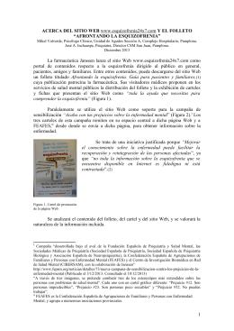 Acerca del sitio web esquizofrenia 24×7 y el folleto afrontando la
