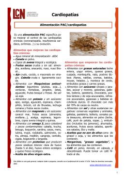 Alimentación PAC/cardiopatía