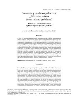 Eutanasia y cuidados paliativos: ¿diferentes aristas de un mismo