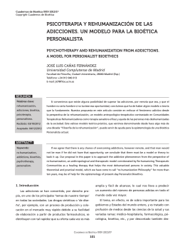 psicoterapia y rehumanización de las adicciones. un modelo para la